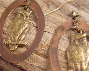 Rustic Mixed Metal Antiqued Brass Woodland Owl Charm Dangle Copper Oval Ring Earrings Jewelry