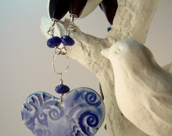 Valentine's Day Gift Romantic Heart Pendant Wire Wrapped Porcelain Necklace Sterling Silver