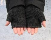 Charcoal Grey-Black Fingerless Gloves, Men or Women, Hand Knit