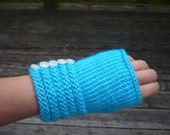 Knit Wrist Warmers, Aqua Blue with Pearl Buttons