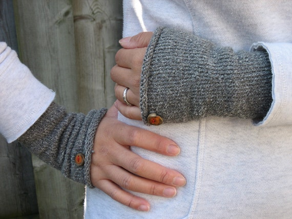 Heather Grey Wristers, Arm Warmers with Itty Bitty Birch Buttons, Hand Knit