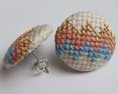 Pastel Pink, Cornflower Blue and Metallic Gold Chevron Earrings Hand Sewn in Cross Stitch