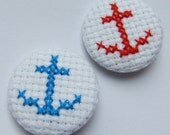 Nautical Anchor Button Badge Hand Sewn in Cross Stitch Available in Red or Blue