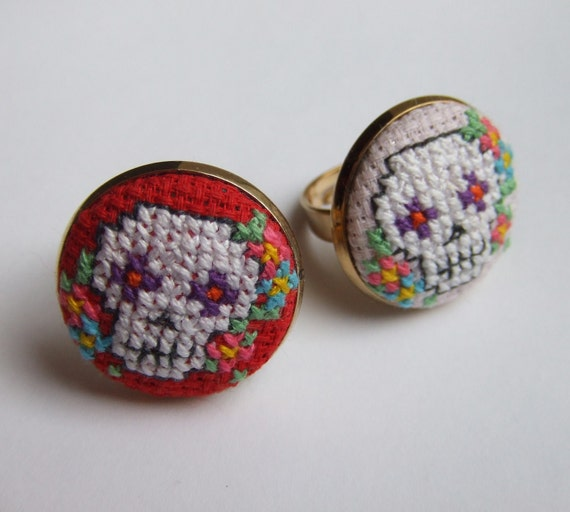 Day of The Dead Mexican Sugar Skull Cross-stitch Ring with Flowers