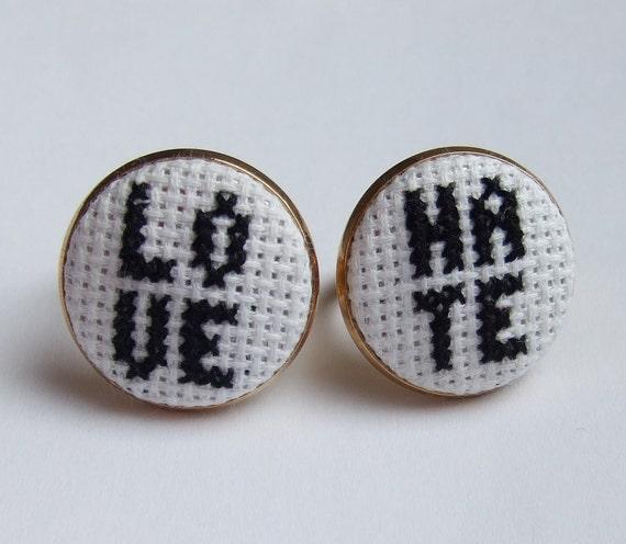 SALE Love Hate Cross stitch Rings