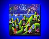 Fireworks 4th of July Sailboats Colorful Folk Art Painting