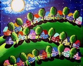 Green Peace on Earth Landscape Whimsical Colorful Original Folk Art Canvas Painting renie