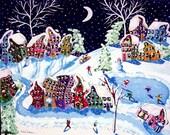 Winter Sled Ride Folk Art Kids Ice Skate Snow Whimsical Canvas Original Painting