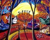 5 Witches Halloween Night Trick or Treat Fun Fall  Folk Art Original Painting