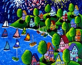 Fun Whimsical Fireworks 4th of July Sailboats Colorful Folk Art Painting
