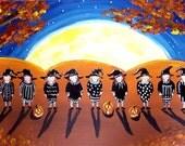 Little Witches Full Moon Halloween Fun Fall Folk Art Painting Canvas