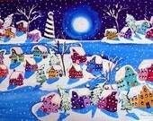 Winter Folk Art Ice Holidays Moon Lighthouse Fun Whimsical Original Painting