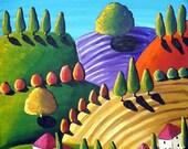 Colorful Whimsical Tuscan Tuscany Landscape Folk Art Painting Original
