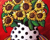 Sunflowers In White With Black Polka Dots Whimsical Folk Art Colorful Giclee PRINT