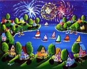 Fireworks Houses Sailboats Fun 4th July Holida Folk Art Original Painting Canvas renie
