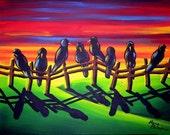 CUSTOM Listing for Lino Crows Ravens Sunset Colorful Landscape Original Folk Art  Painting