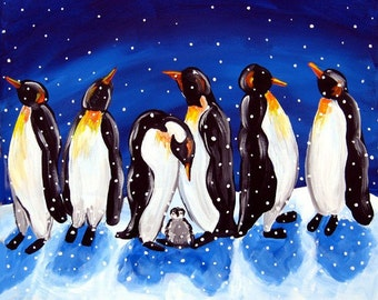 Penguin Party Winter Snow Fun Folk Art Whimsical Original Painting Canvas