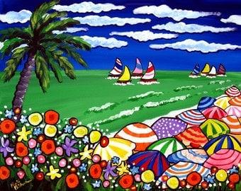 Tropical Beach Scene Umbrellas Palm Tree Whimsical Colorful Original Folk Art Painting