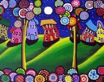 Whimsical Trees Blossoms Funky Houses  Fun Colorful Folk Art Giclee Print