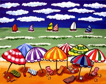 Beach Umbrellas Sailboats Seascape Whimsical Folk Art Original Painting