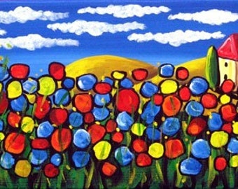 Field of Poppies Colorful Fun Whimsical Folk Art Original Painting renie
