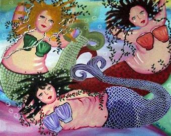 3 Mermaids Whimsical Folk Art Giclee Print