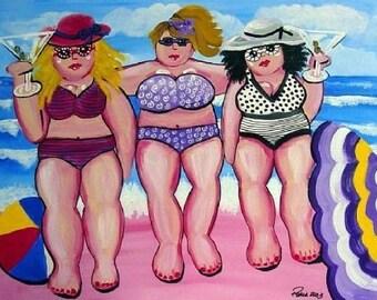 3 Large Beach Divas Fun Folk Art Giclee Print