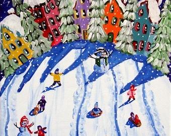 Sled Riders Whimsical Kids Snow Winter Folk Art Giclee PRINT
