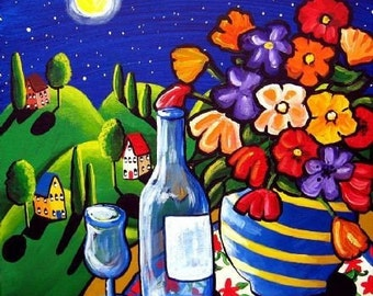 Wine Flowers Moonlight Green Hills Landscape Folk Art Giclee Print