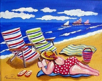 Sunbathing Beach Diva Fun Folk Art Whimsical Colorful Giclee Print