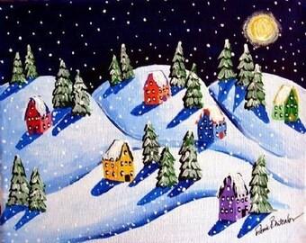Silent Night Snow Houses Winter Whimsical Folk Art Giclee Print