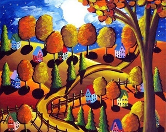 Fall Night Moon Trees  Landscape Whimsical Colorful Folk Art Painting