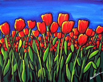 Field of Red Tulips Red Flowers Fun Floral Whimsical Folk Art Giclee Print
