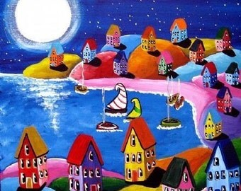 Moonlight Sail Colorful Whimsical Sailboats Folk Art Canvas Giclee Print