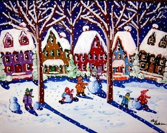 Kids Making Snowmen Fun Whimsical Winter Folk Art Giclee Print