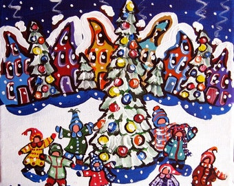 Children Sing Christmas Carols Christmas Tree Folk Art Painting
