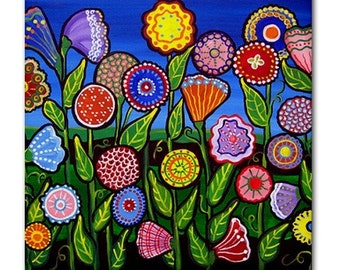 Colorful Fun Flowers Folk  Art Ceramic Tile