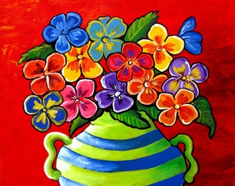 Pansies Fun Floral Whimsical Folk Art Giclee Canvas PRINT