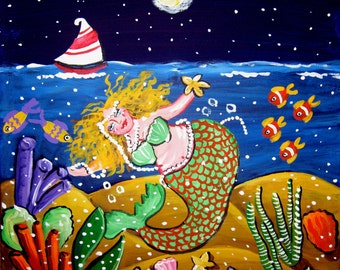 Green Mermaid Sailboat Whimsical Folk Art Giclee Print on Canvas