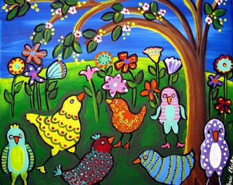 Colorful Birds and Flowers Fun Spring Art Giclee PRINT