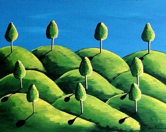 Green Landscape Blue Skies Whimsical Colorful Folk Art Painting Original