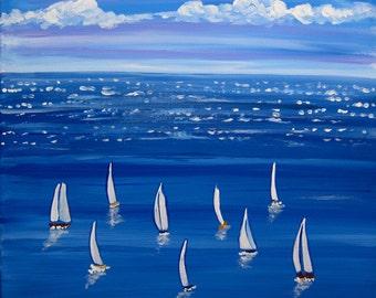 Blue Sail Sailboats Whimsical Original Folk Art Painting