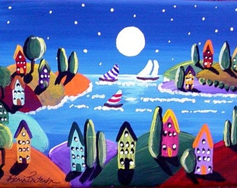 "Sailboats Full Moon Houses Whimsical Folk Art Painting Small 7"" x 5"""