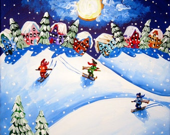 Winter Snow Ski Skiers Houses Moon Whimsical Fun Folk Art Original Painting
