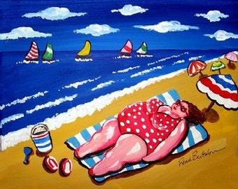 Big Beach Diva Sunbather Fun and Whimsical Beach Folk Art Giclee PRINT