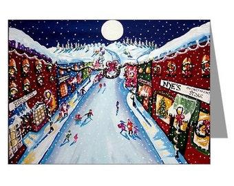 Winter Holiday Christmas Shopping Folk Art  Greeting Cards Pk of 10