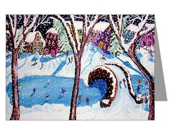 Winter Fun Ice Skate Snowmen Holiday Whimsical Fun Folk Art Greeting Cards Pk of 10