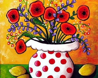Red Poppies in Polka Dots Floral Fun Whimsical Folk Art Giclee PRINT