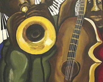 Jazz Musicians African American Music Trumpet Bass Abstract Original Folk Art Painting