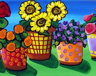 COLORFUL FLOWERS FLORAL Pots Whimsical Fun  Original Folk Art Painting